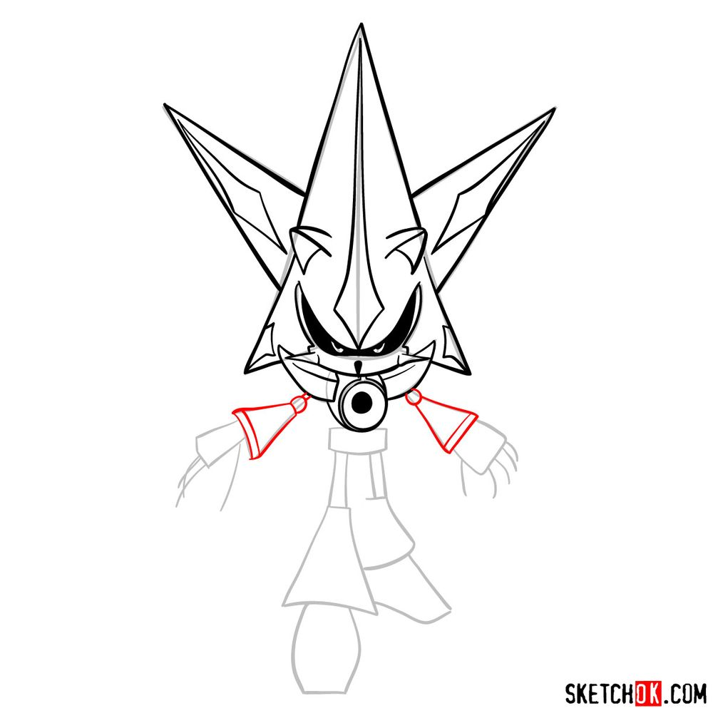 How to draw Neo Metal Sonic - step 11