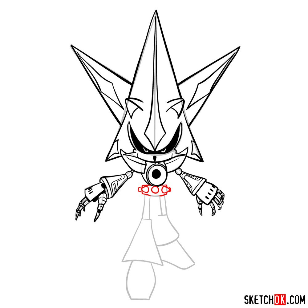 How to draw Neo Metal Sonic - step 14
