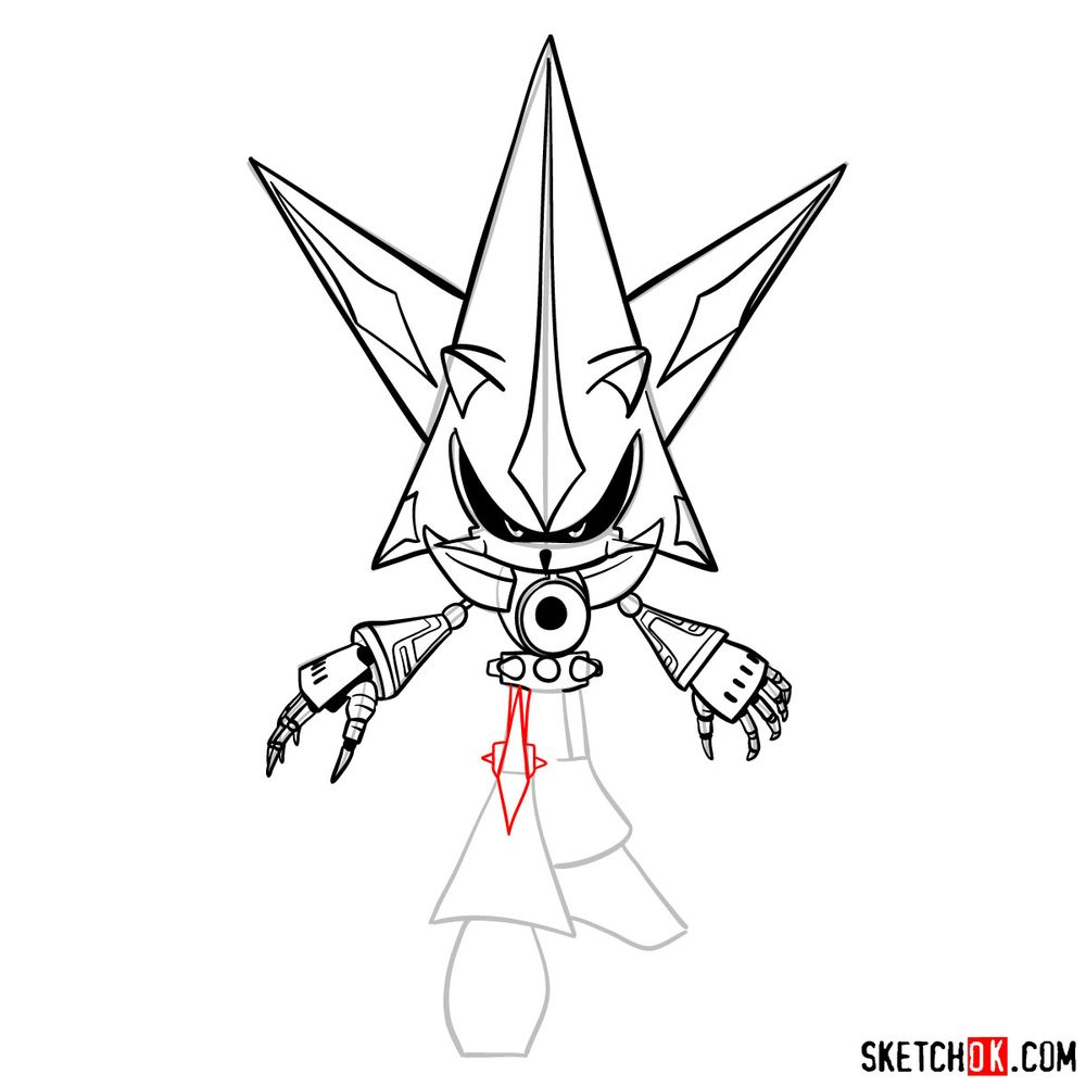 How to draw Neo Metal Sonic - step 15