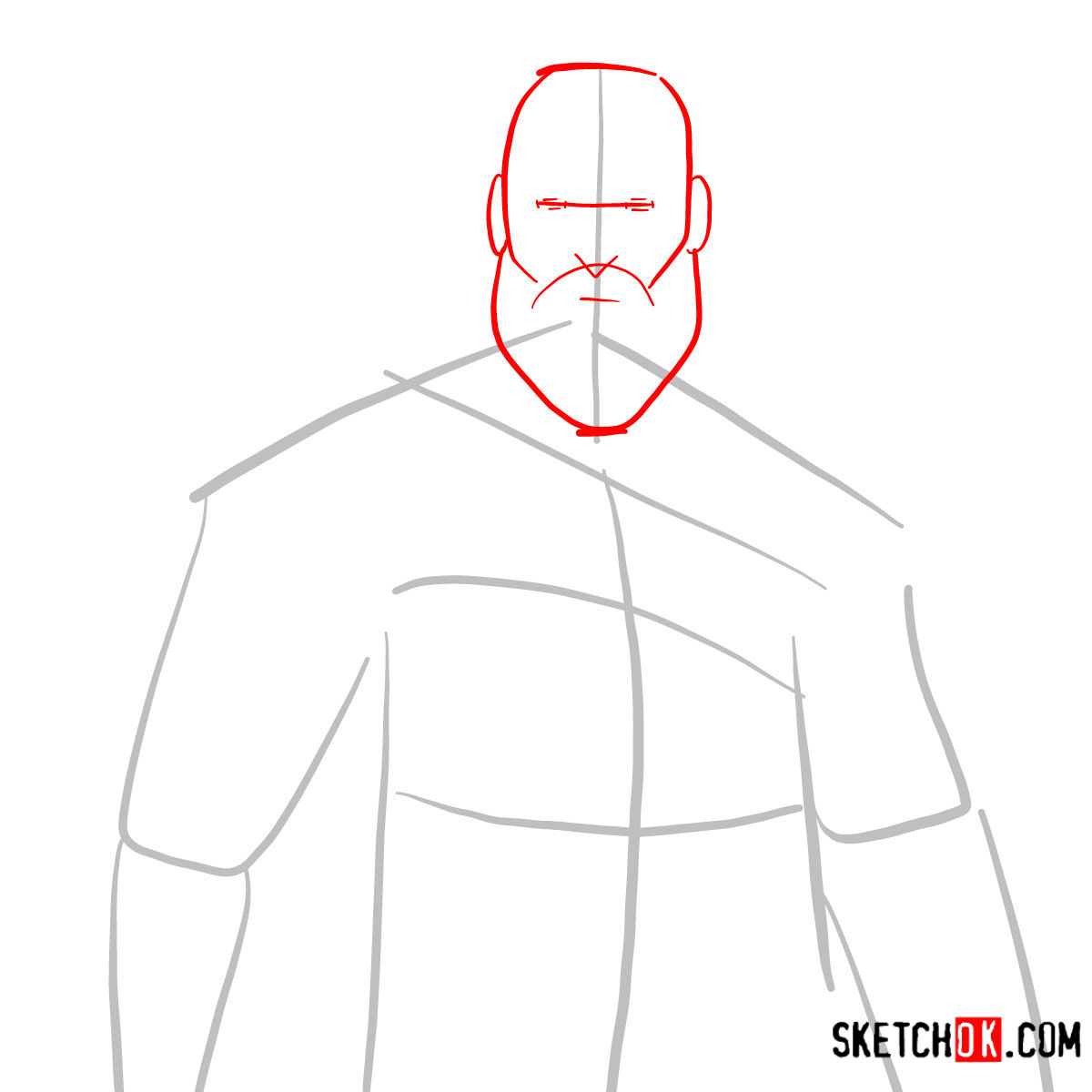 How to draw Kratos | God of War - step 02