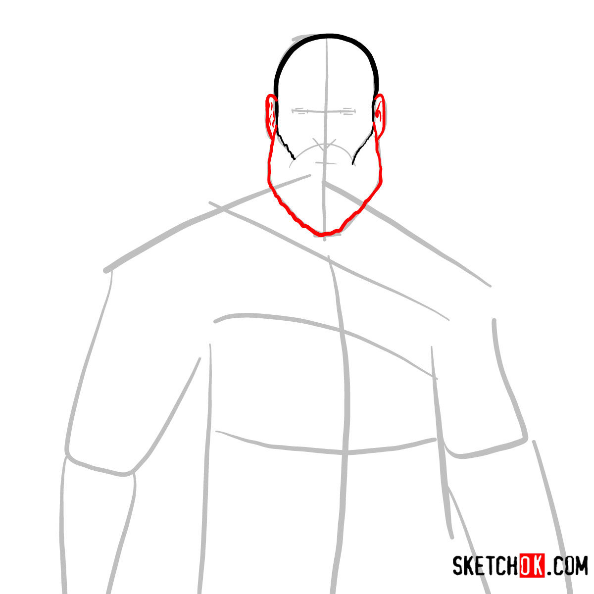 How to draw Kratos | God of War - step 04