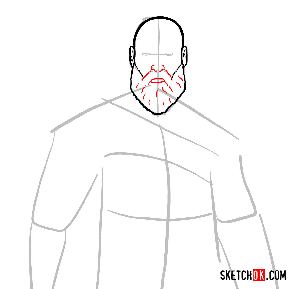 How to draw Kratos | God of War - step 05