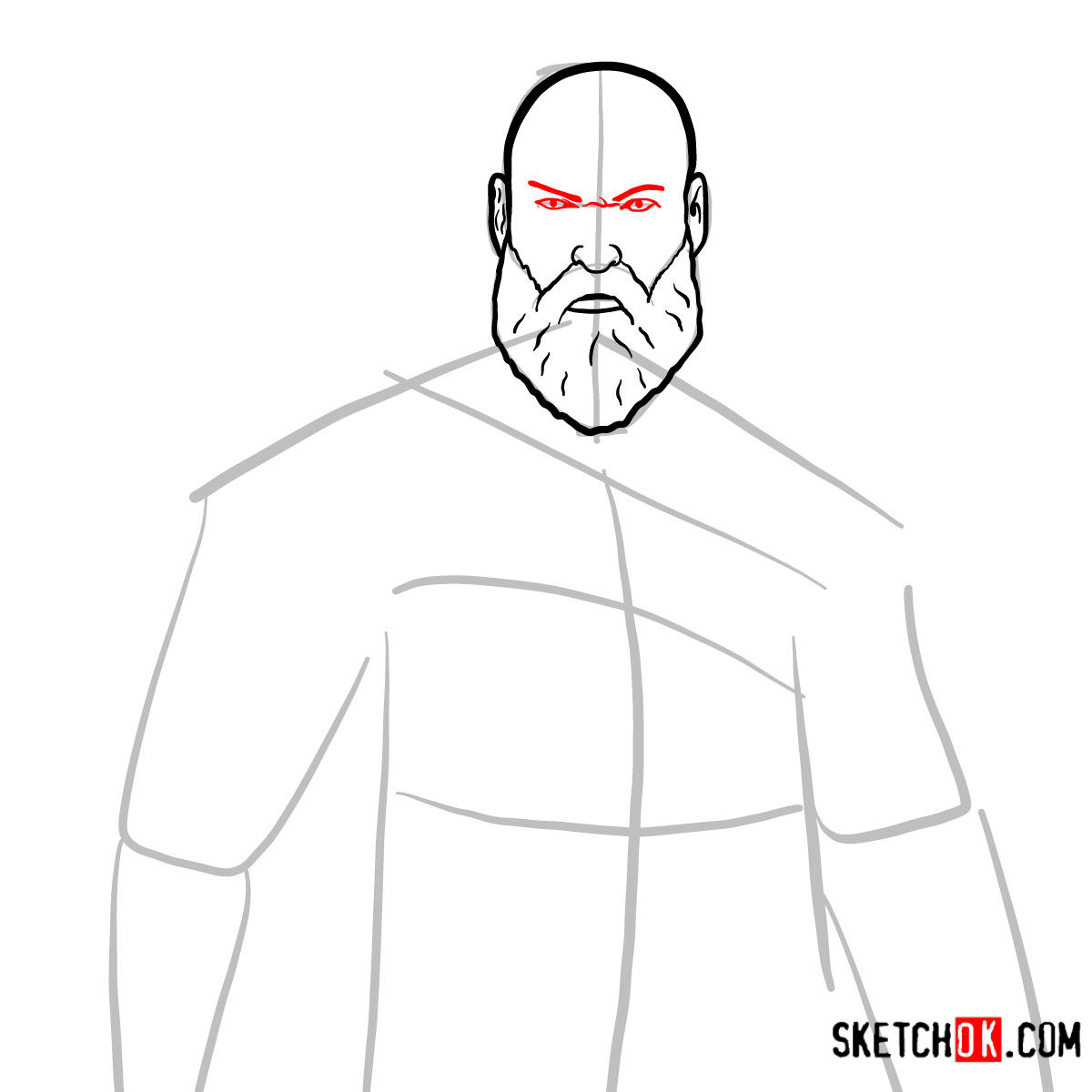 How to draw Kratos | God of War - step 06