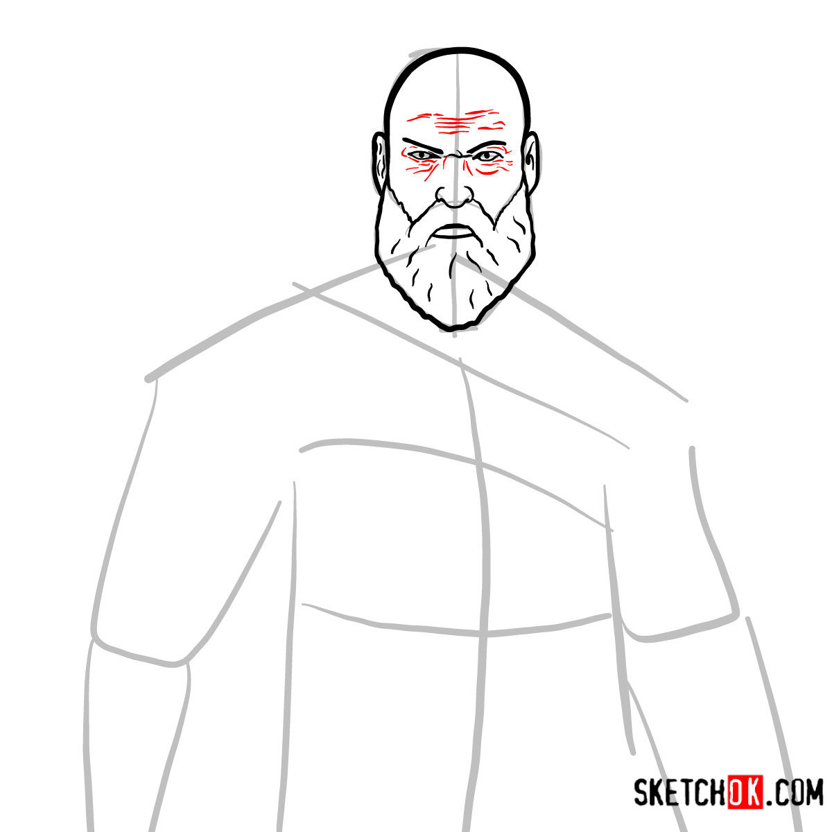 How to draw Kratos | God of War - step 07