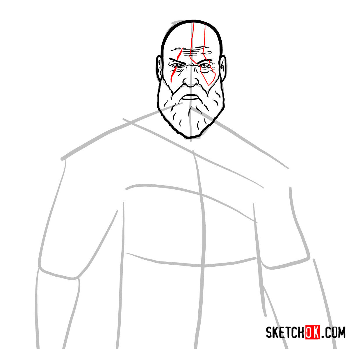 How to draw Kratos | God of War - step 08