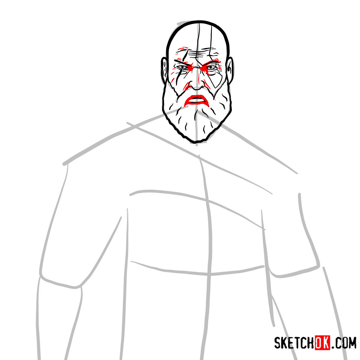 How to draw Kratos | God of War - step 09