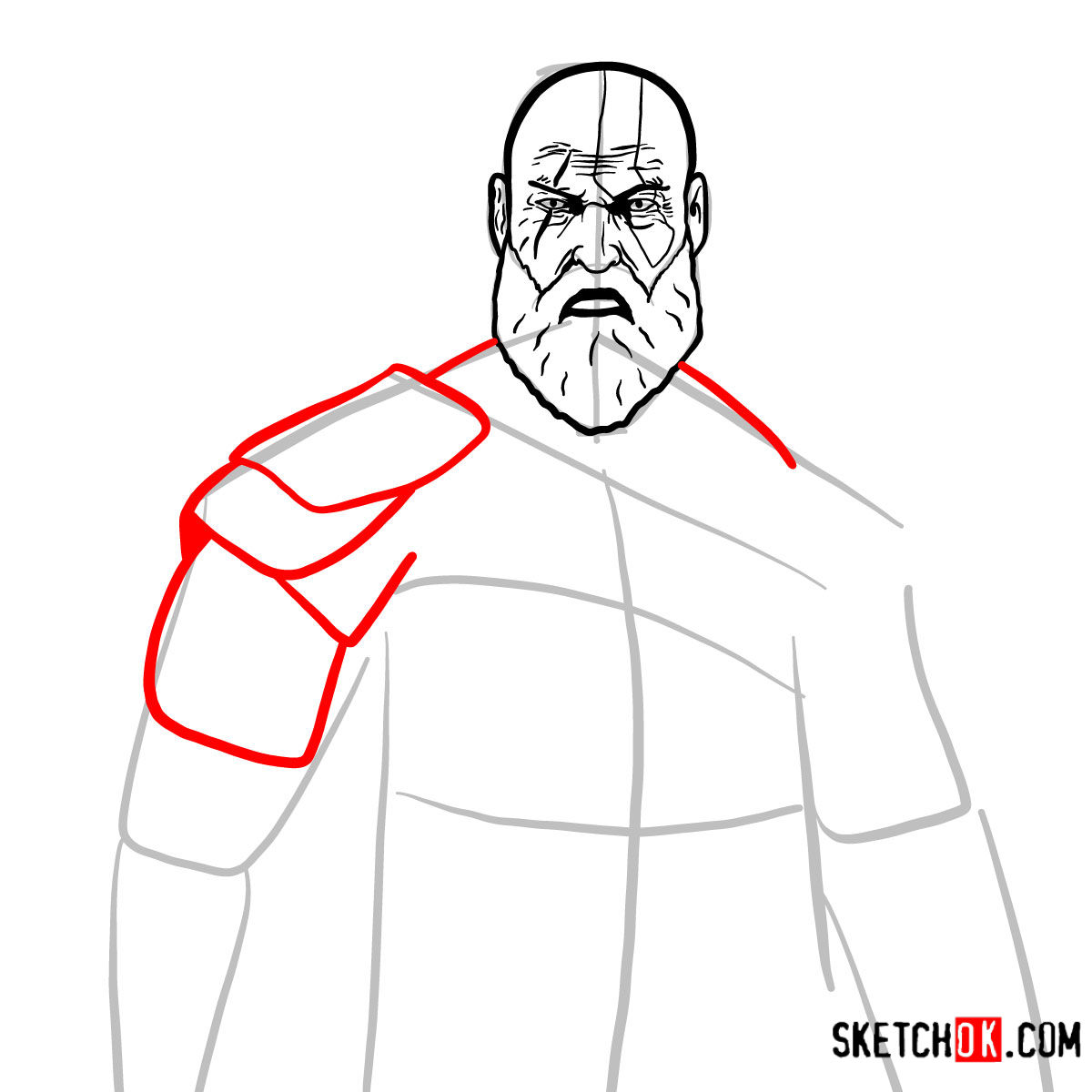 How to draw Kratos | God of War - step 10