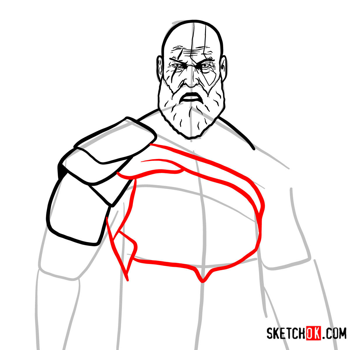 How to draw Kratos | God of War - step 11
