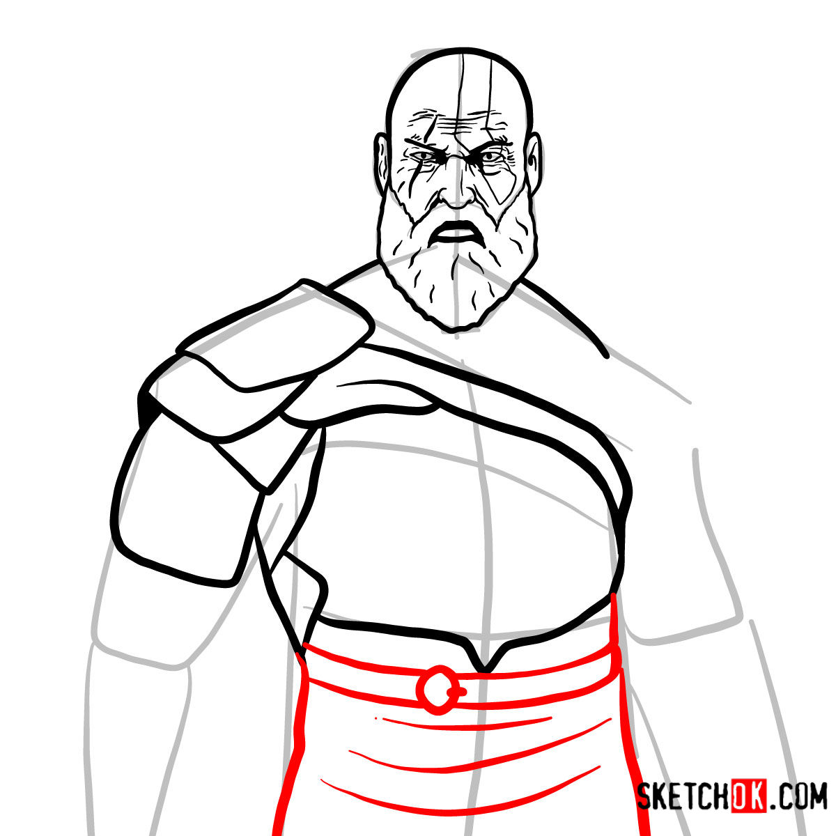 How to draw Kratos | God of War - step 12