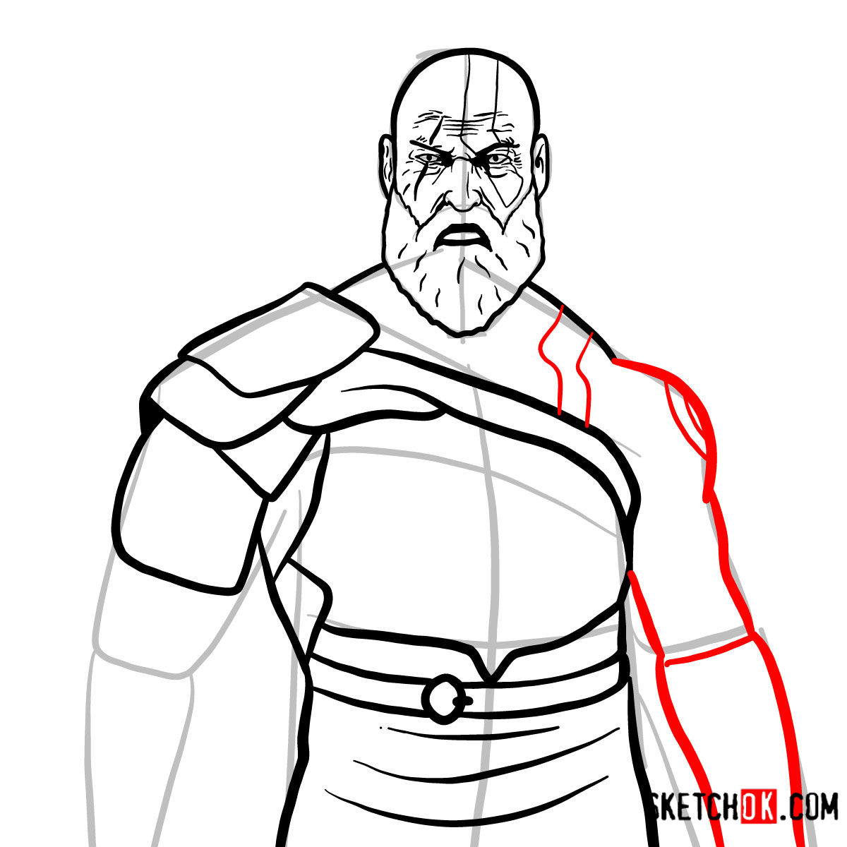 How to draw Kratos | God of War - step 13