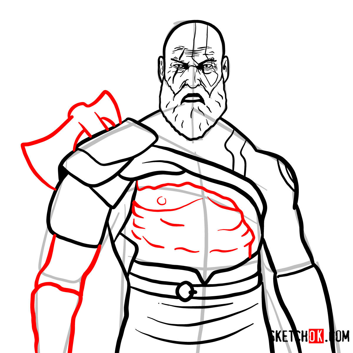 How to draw Kratos | God of War - step 14