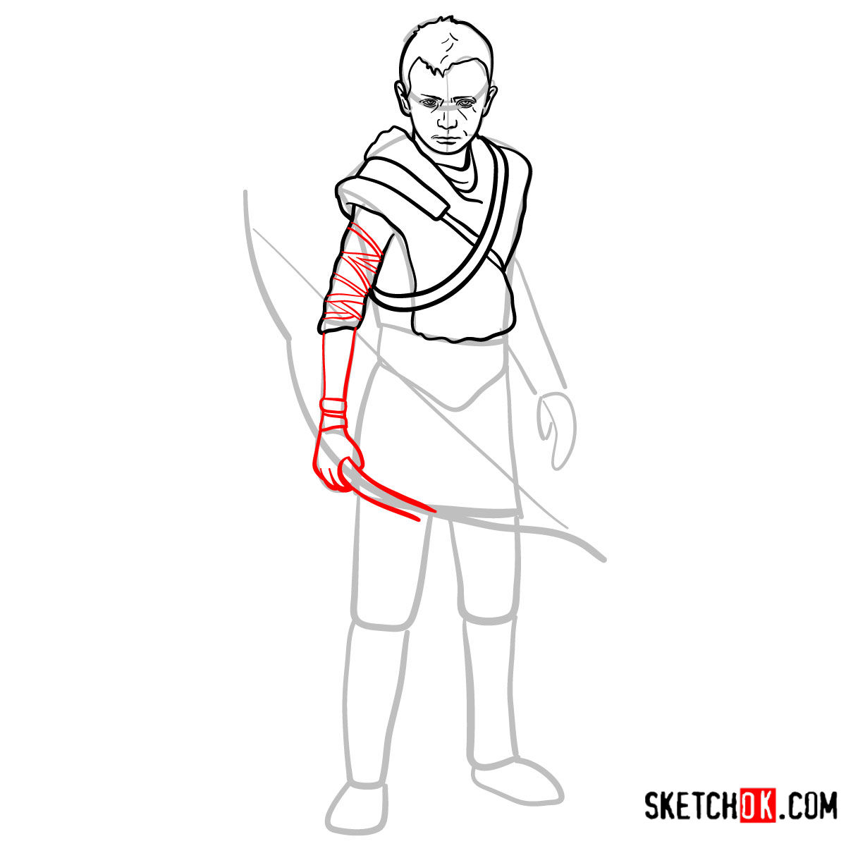 How to draw Atreus   God of War - step 10