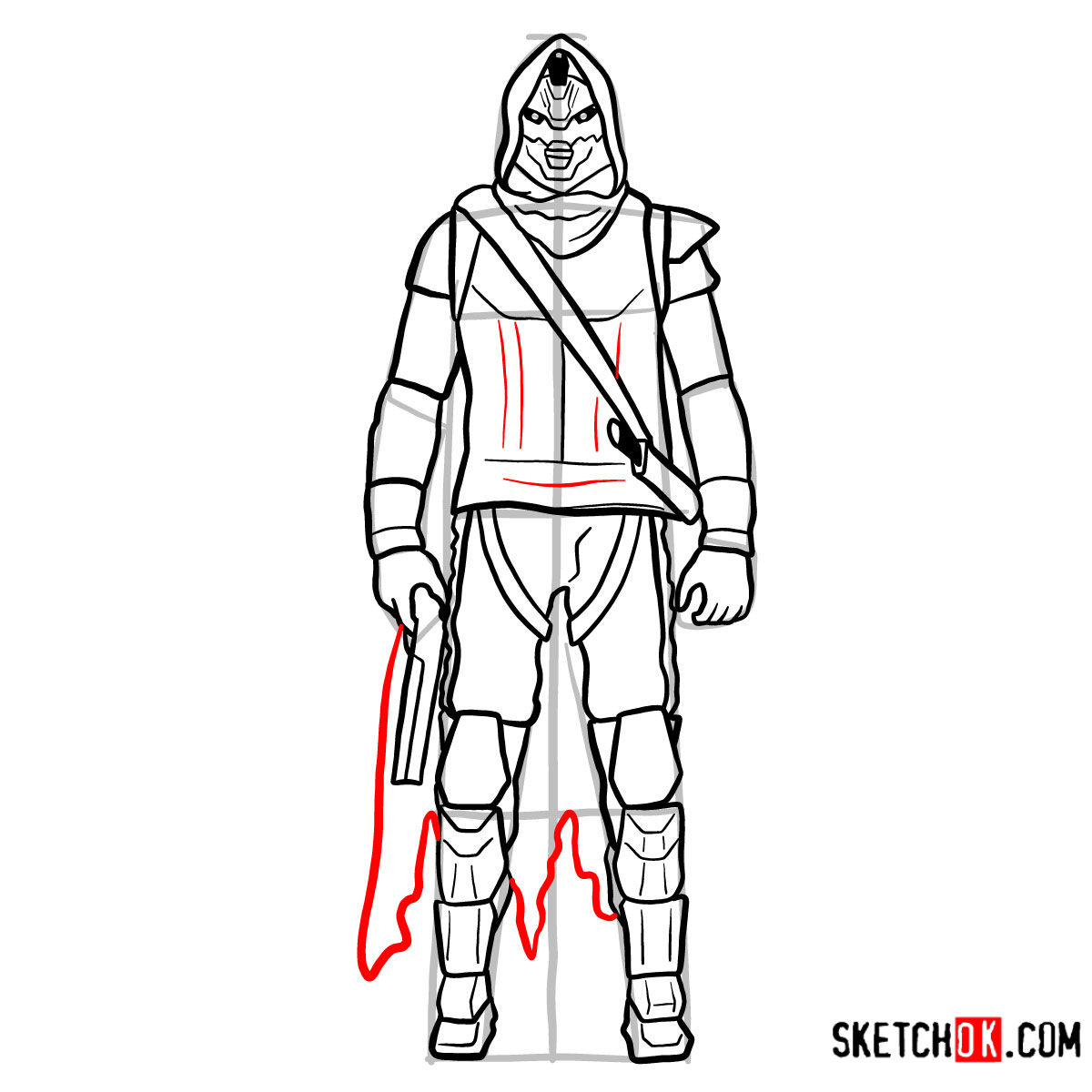 How to draw Cayde-6 | Destiny - step 14