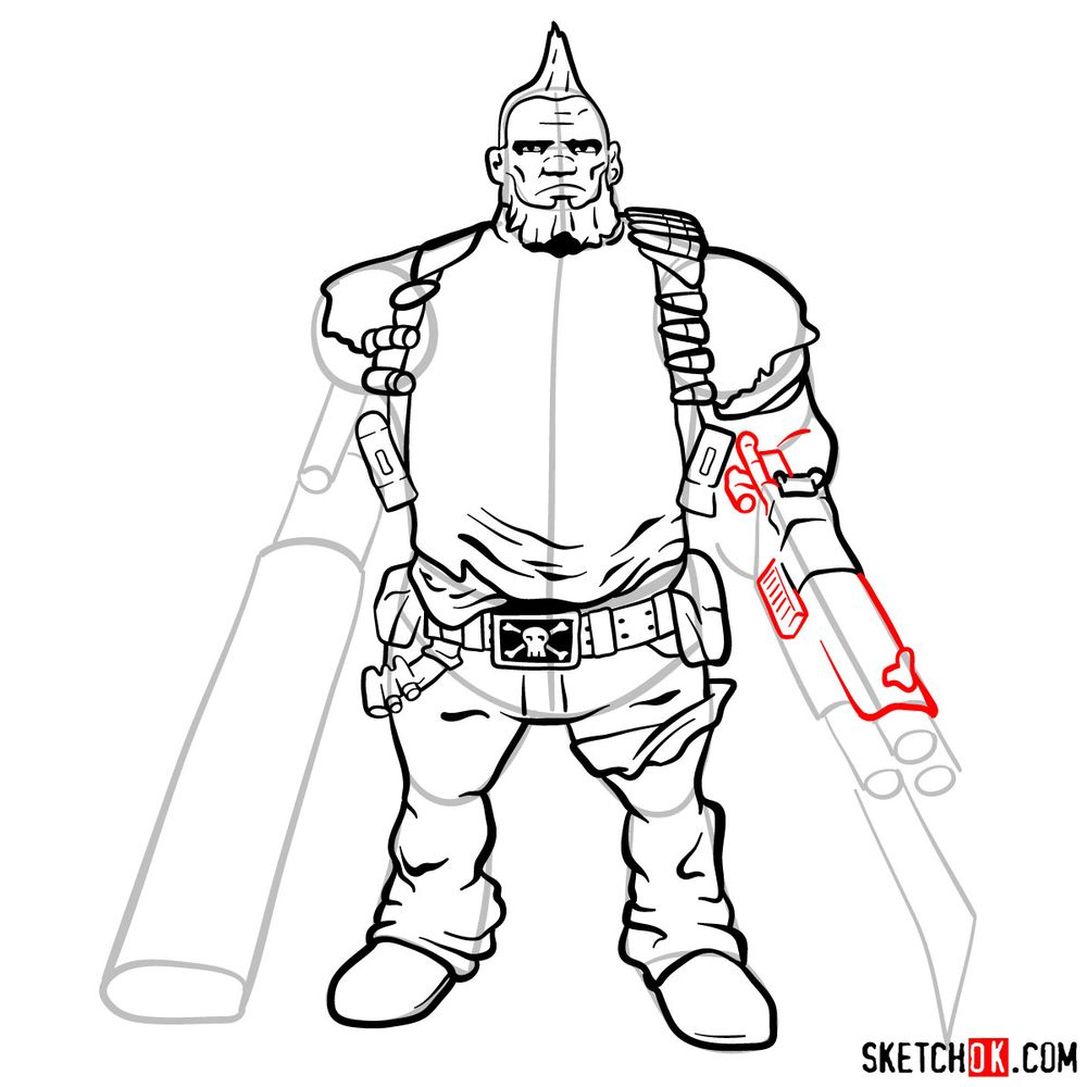 How to draw Salvador from the Borderlands - step 14