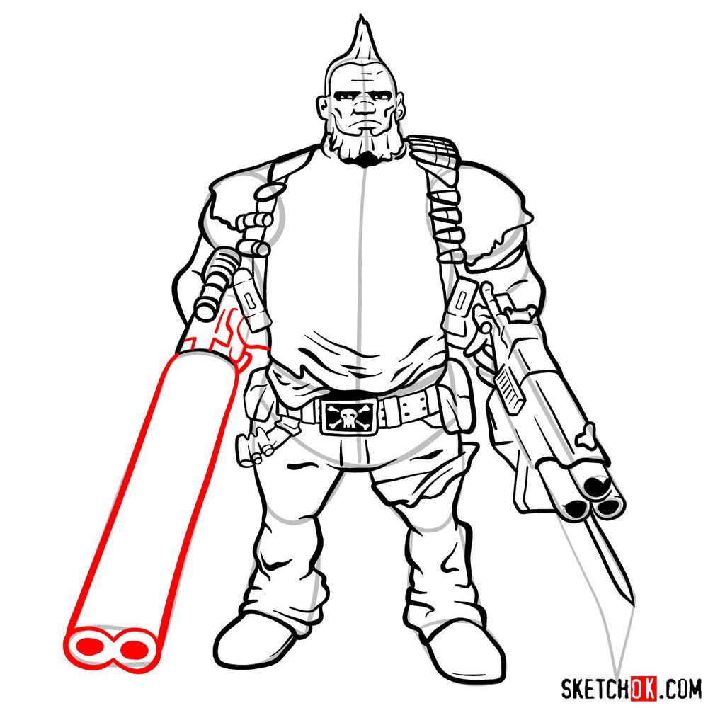 How to draw Salvador from the Borderlands - step 17