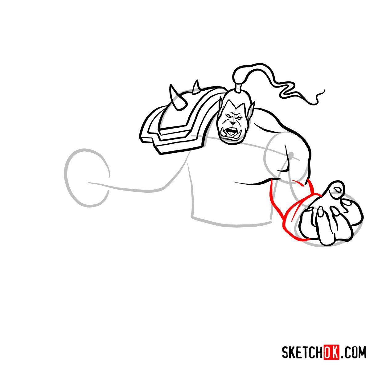 How to draw Grommash Hellscream   World of Warcraft - step 09