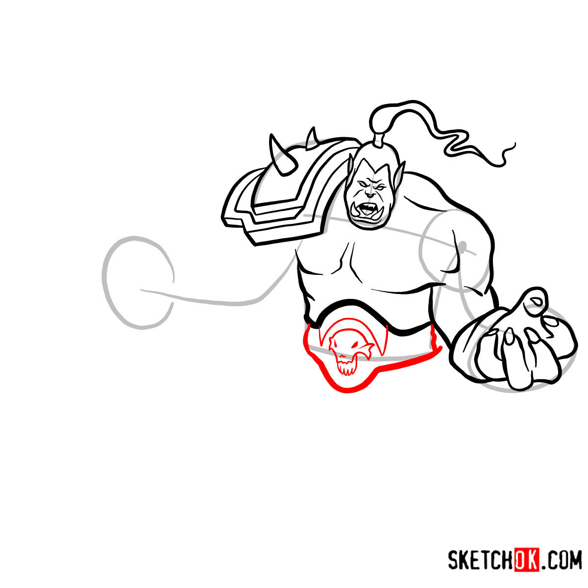 How to draw Grommash Hellscream   World of Warcraft - step 11