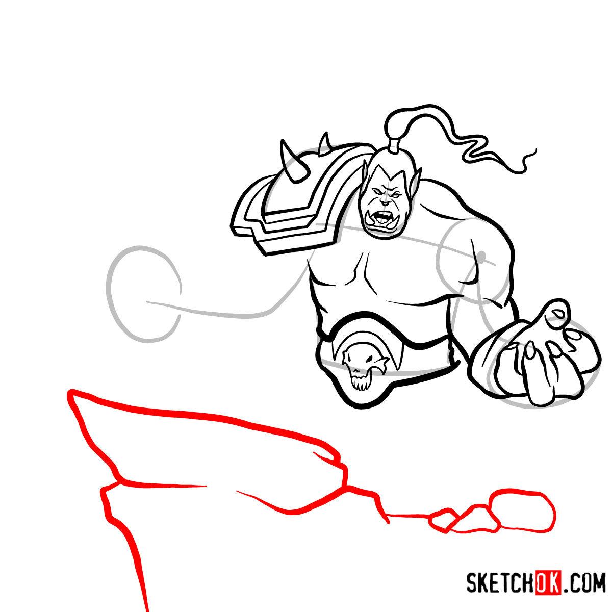 How to draw Grommash Hellscream   World of Warcraft - step 12