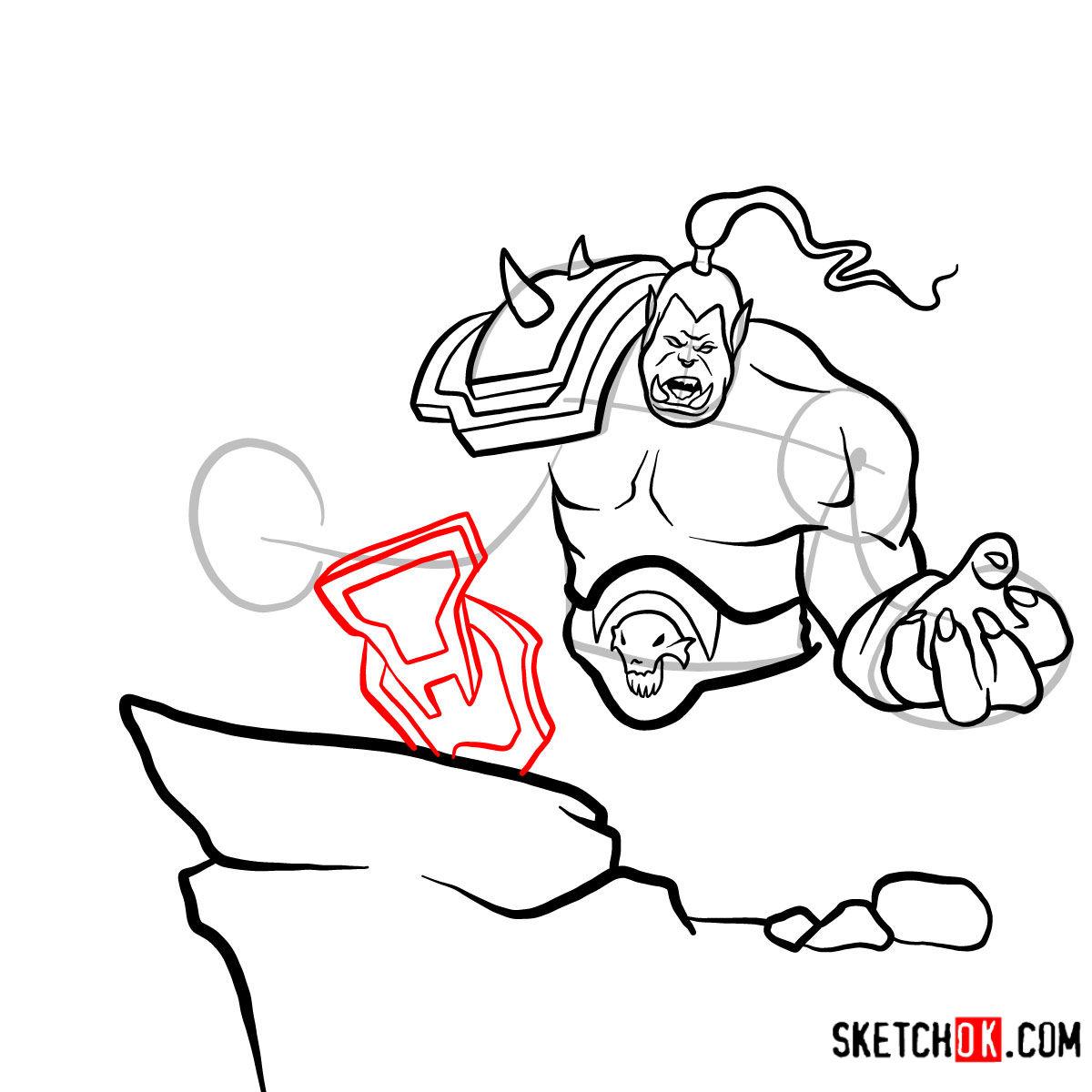 How to draw Grommash Hellscream   World of Warcraft - step 13