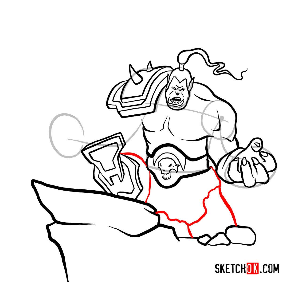 How to draw Grommash Hellscream   World of Warcraft - step 14