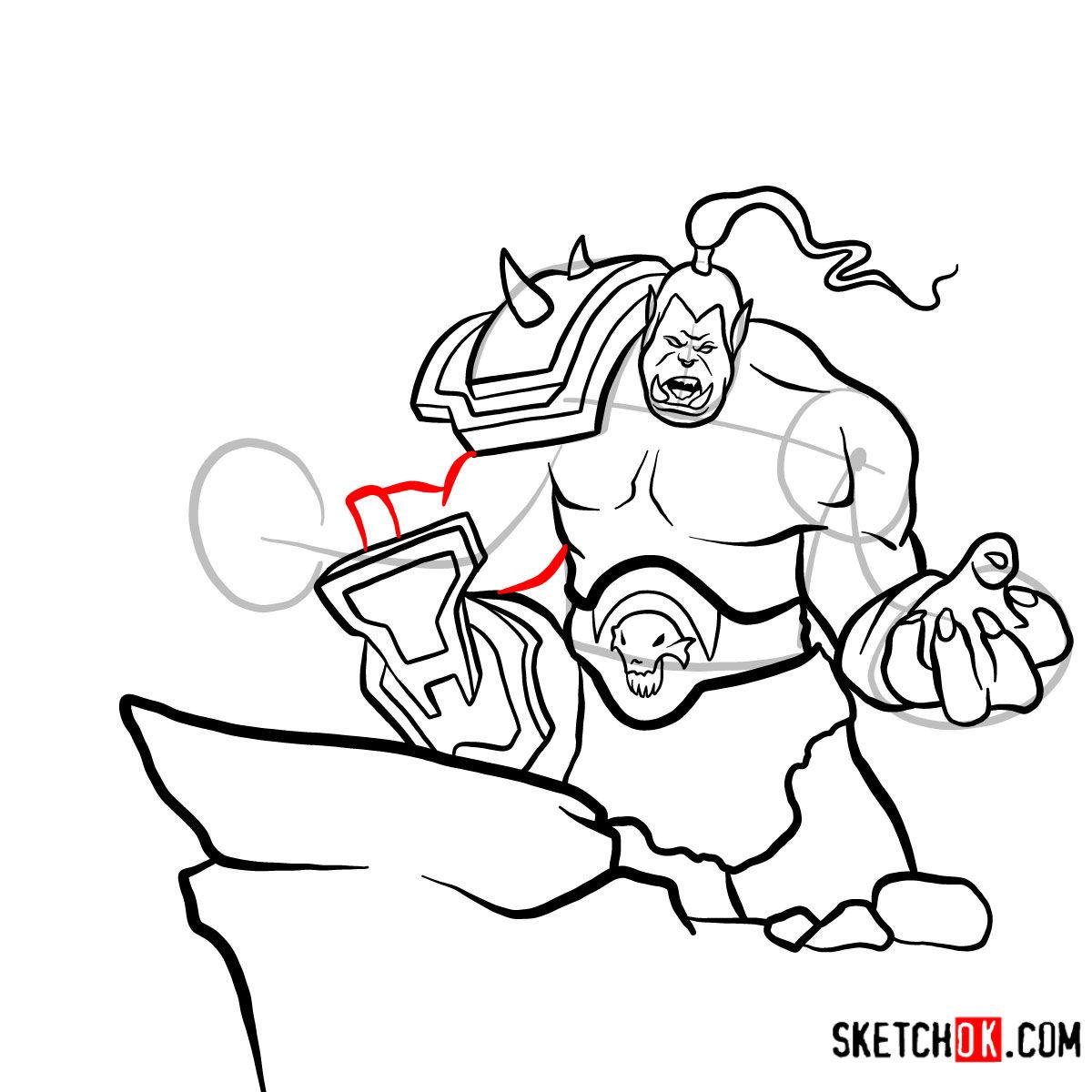 How to draw Grommash Hellscream   World of Warcraft - step 15