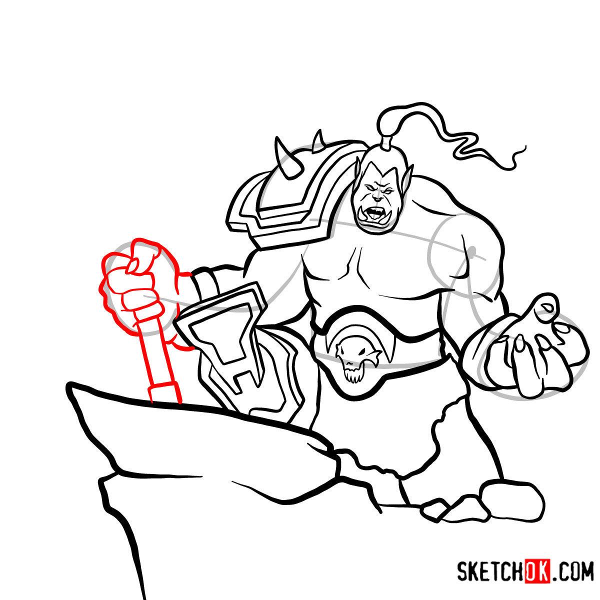 How to draw Grommash Hellscream   World of Warcraft - step 16