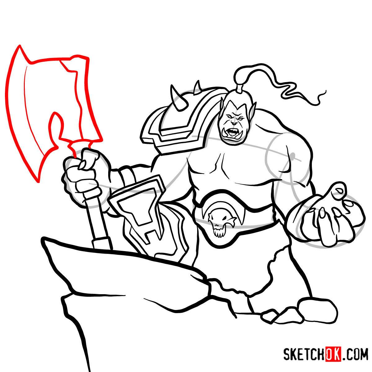 How to draw Grommash Hellscream   World of Warcraft - step 18