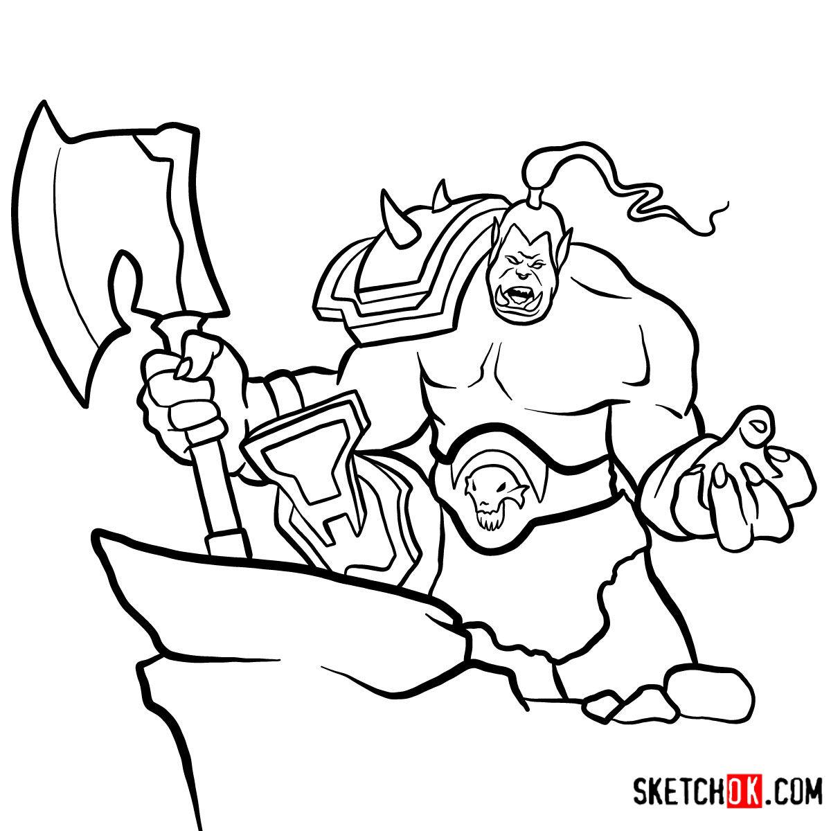 How to draw Grommash Hellscream