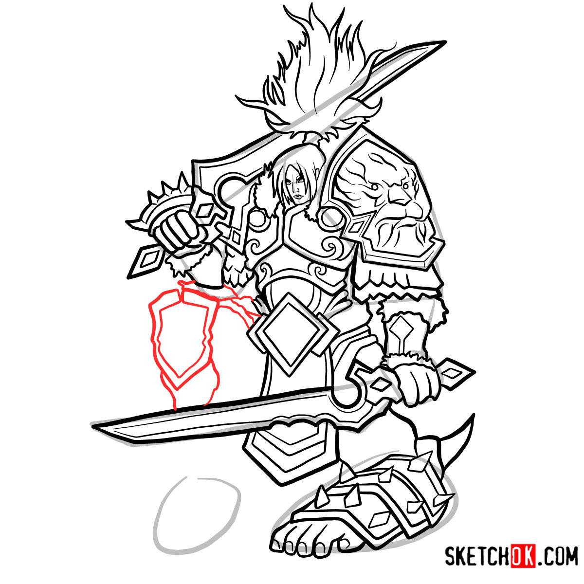 How to draw Varian Wrynn | World of Warcraft - step 14