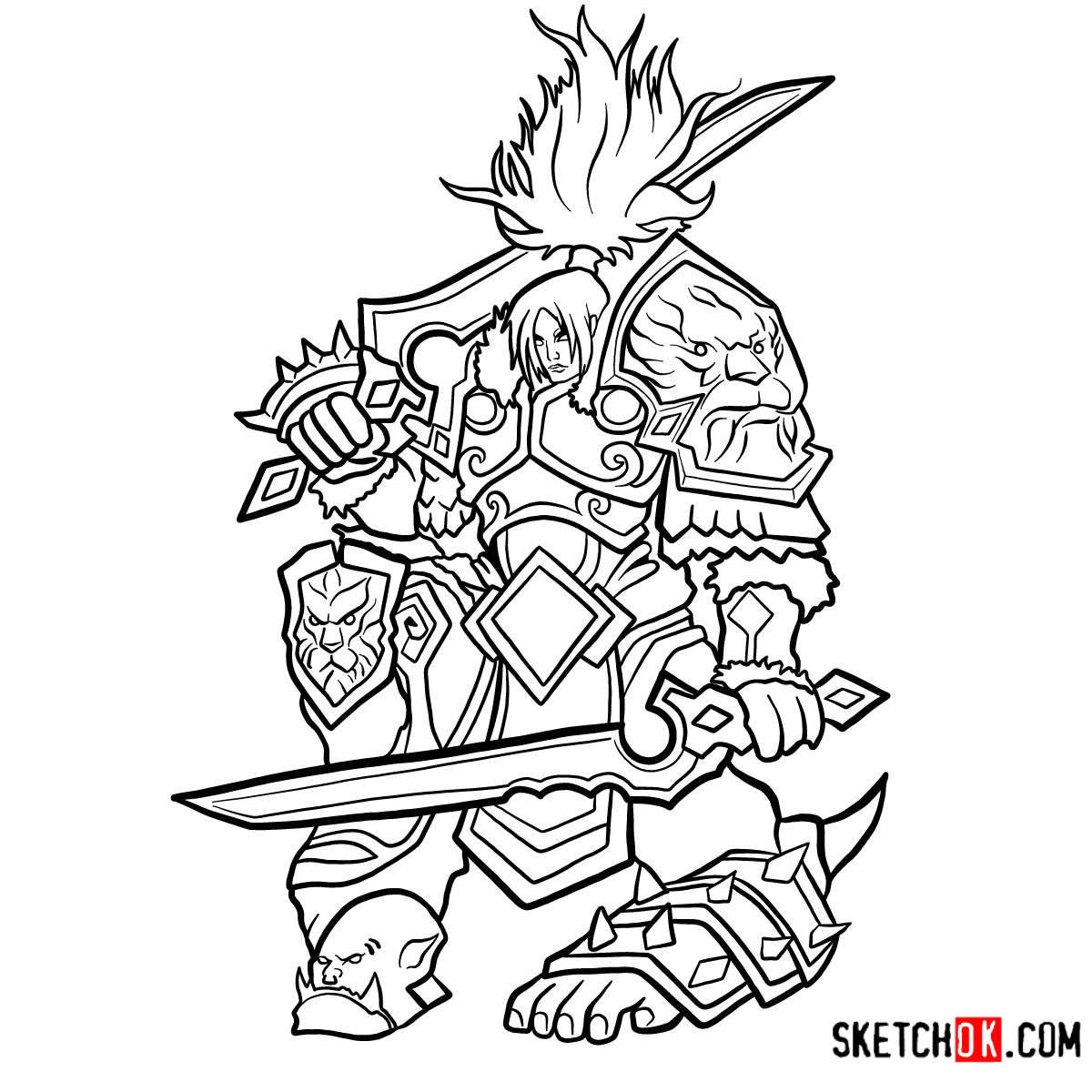 How to draw Varian Wrynn | World of Warcraft - coloring