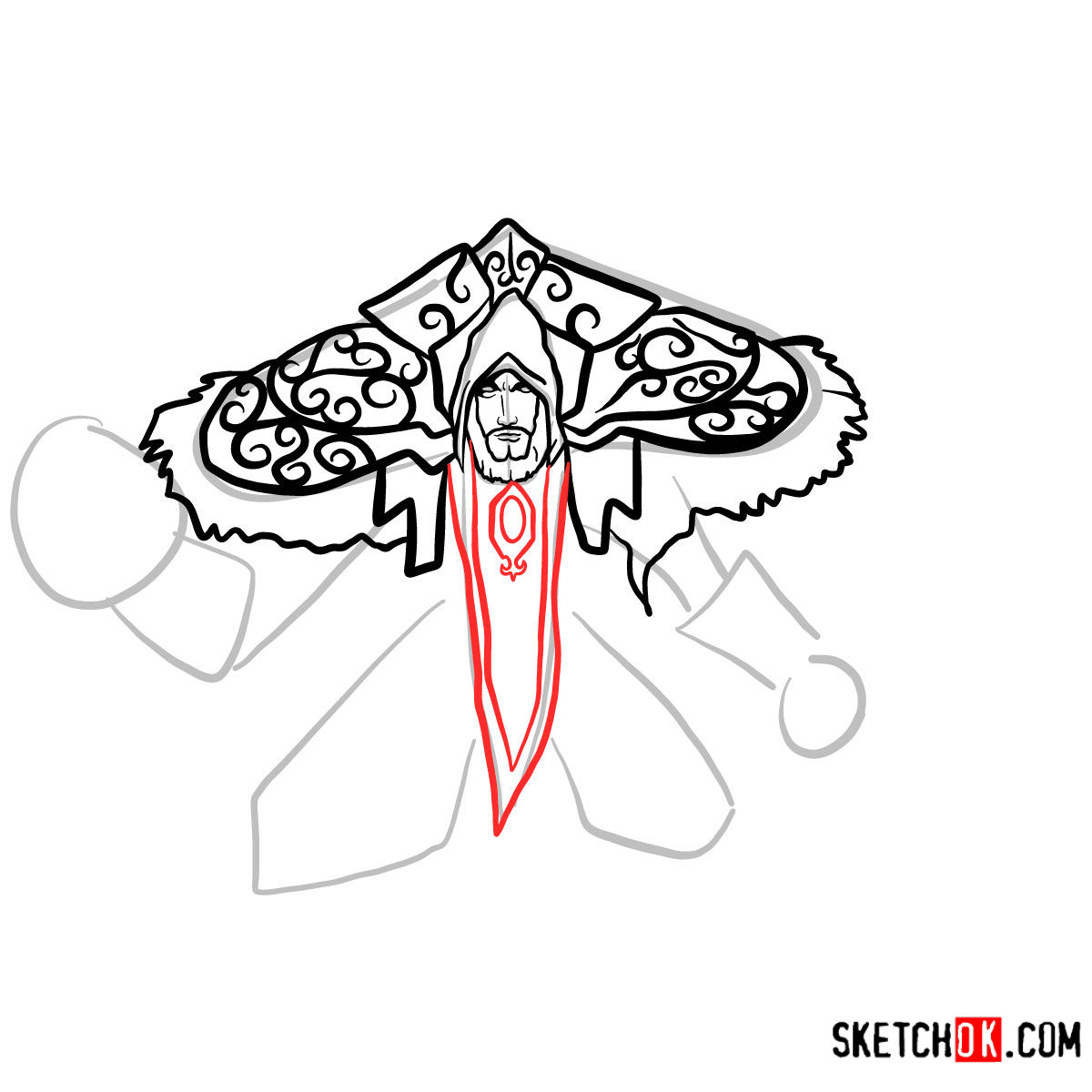 How to draw Magus Medivh | World of Warcraft - step 09