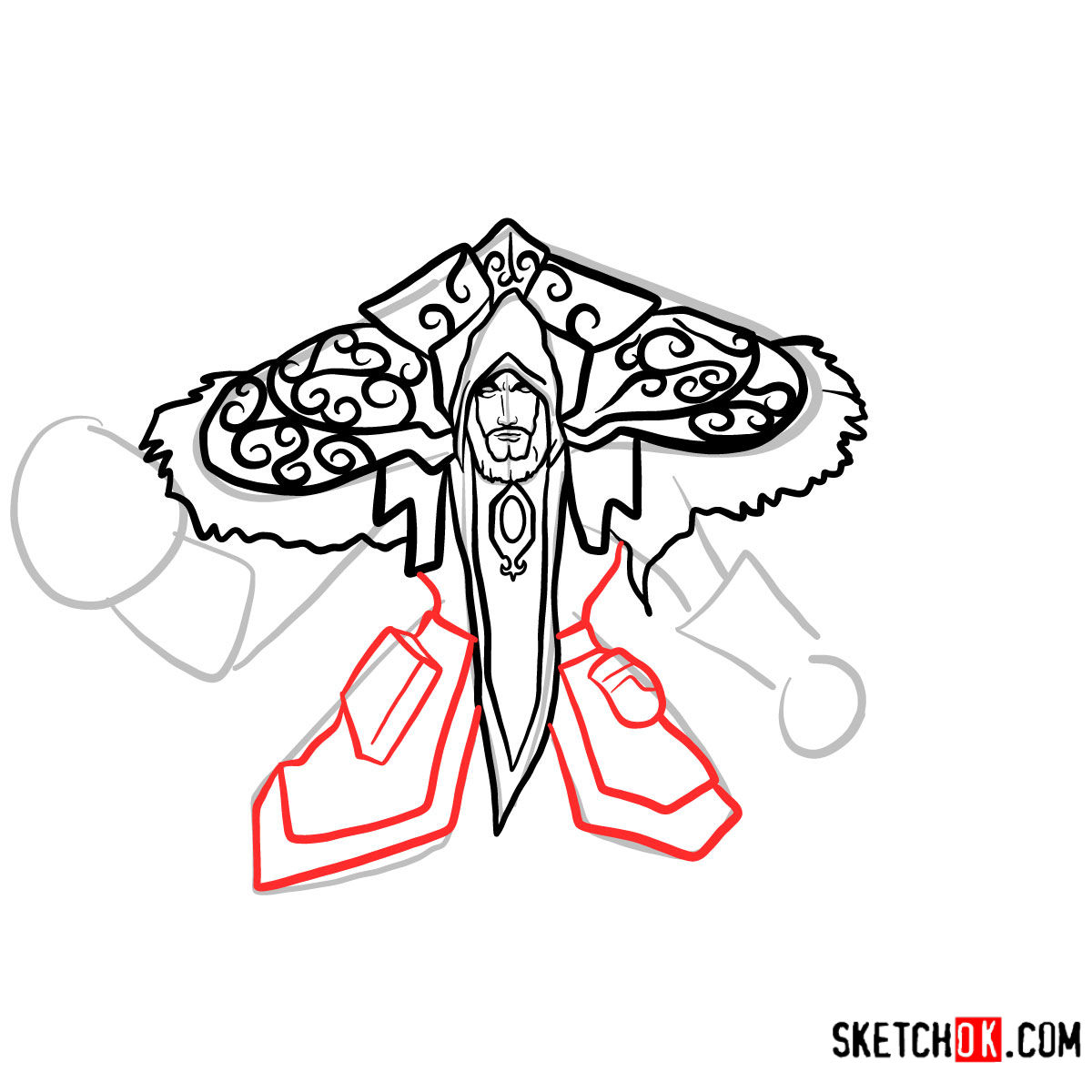 How to draw Magus Medivh | World of Warcraft - step 10
