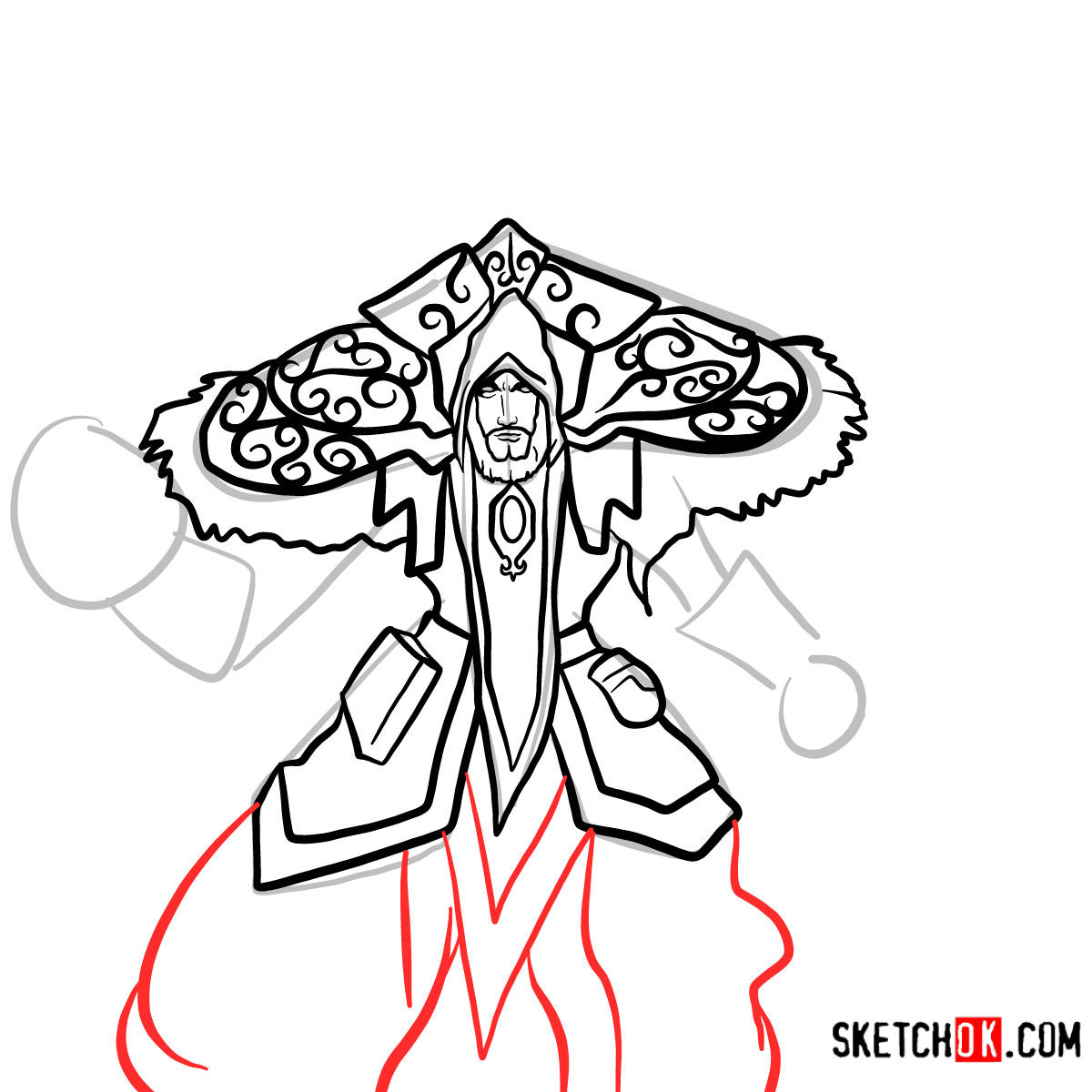How to draw Magus Medivh | World of Warcraft - step 11
