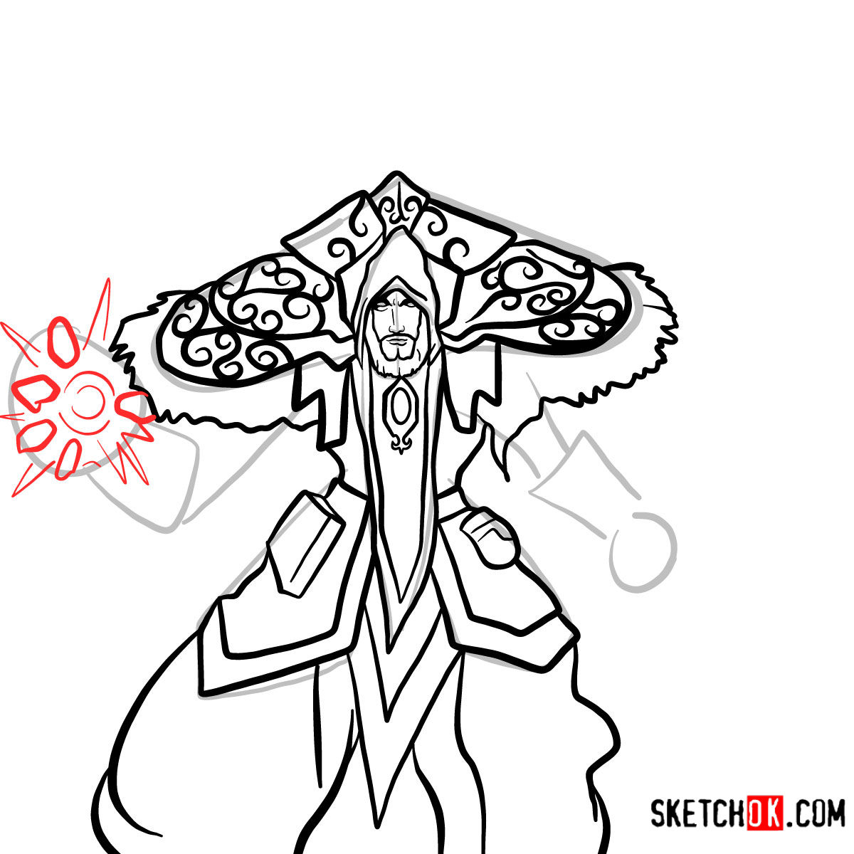 How to draw Magus Medivh | World of Warcraft - step 12