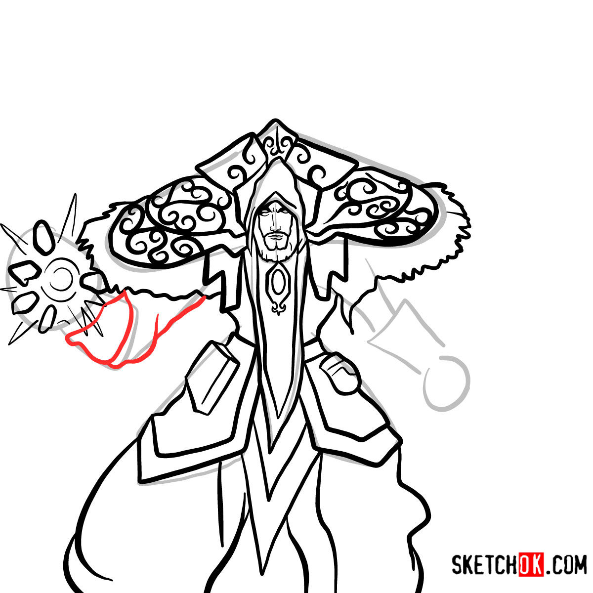 How to draw Magus Medivh | World of Warcraft - step 13