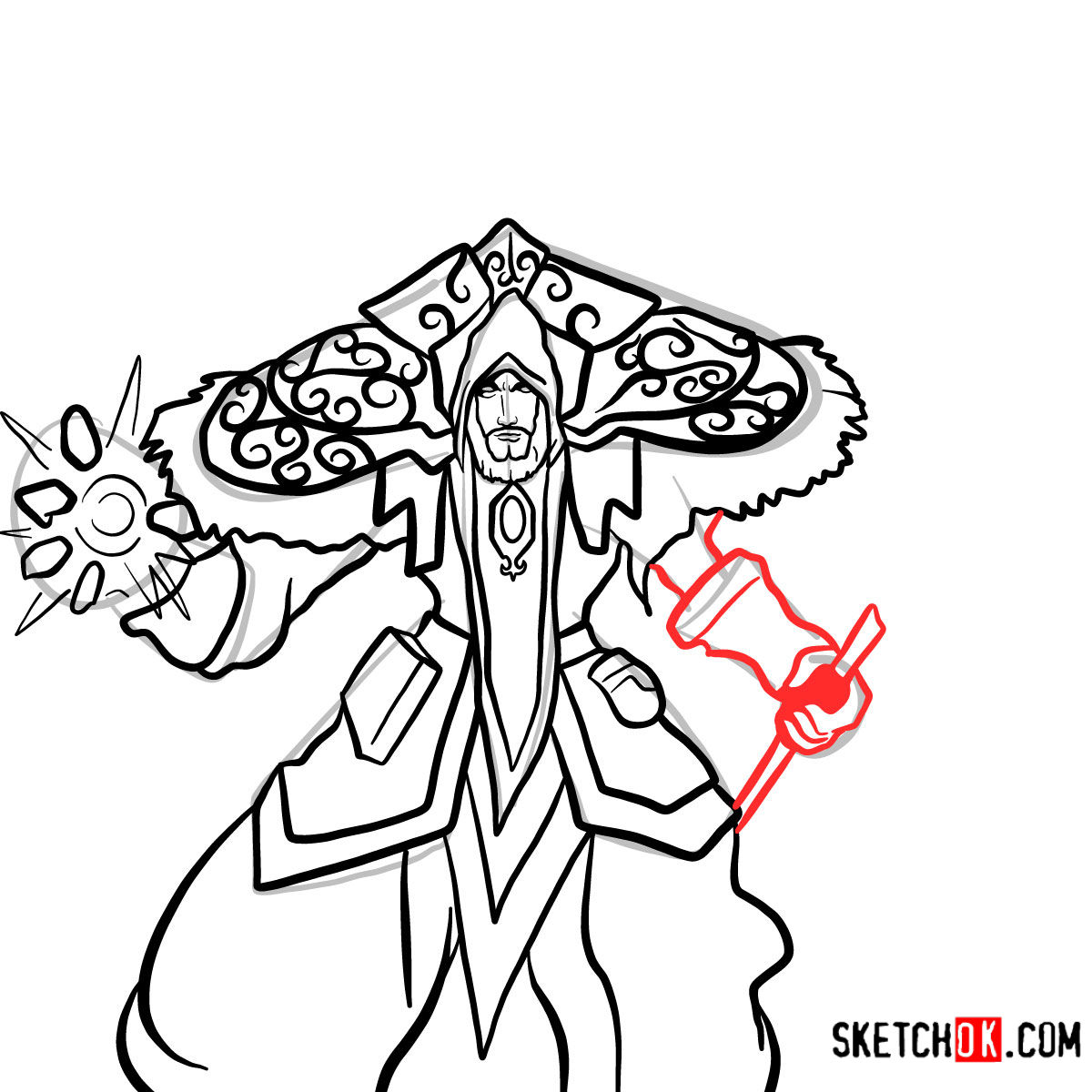 How to draw Magus Medivh | World of Warcraft - step 14