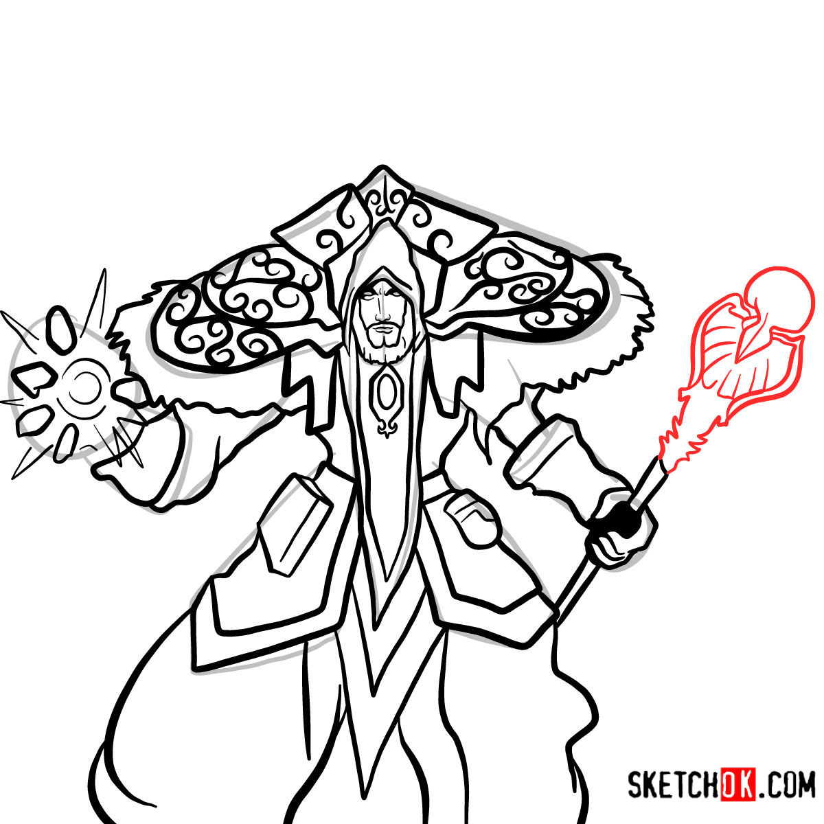 How to draw Magus Medivh | World of Warcraft - step 15