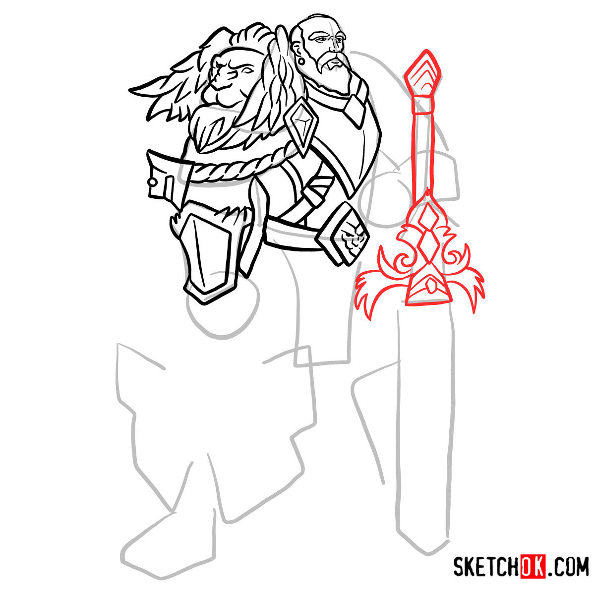 How to draw Lord Anduin Lothar | World of Warcraft - step 10