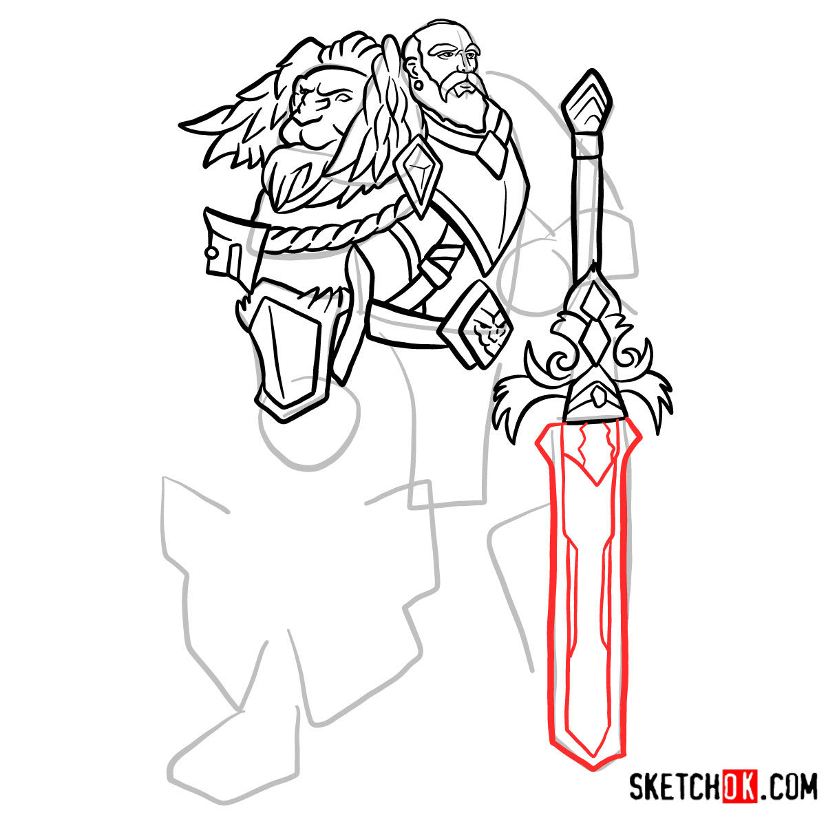 How to draw Lord Anduin Lothar | World of Warcraft - step 11