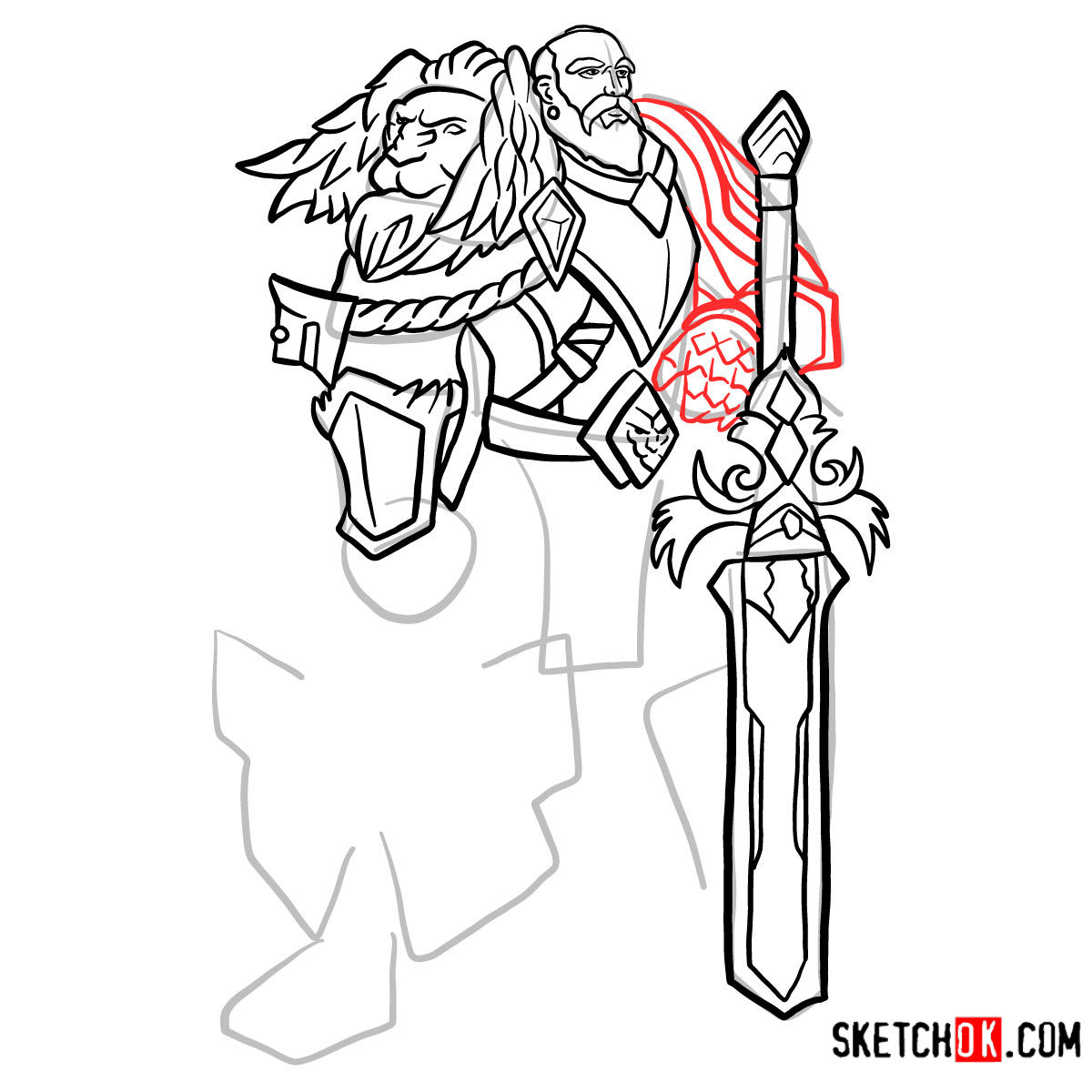 How to draw Lord Anduin Lothar | World of Warcraft - step 12