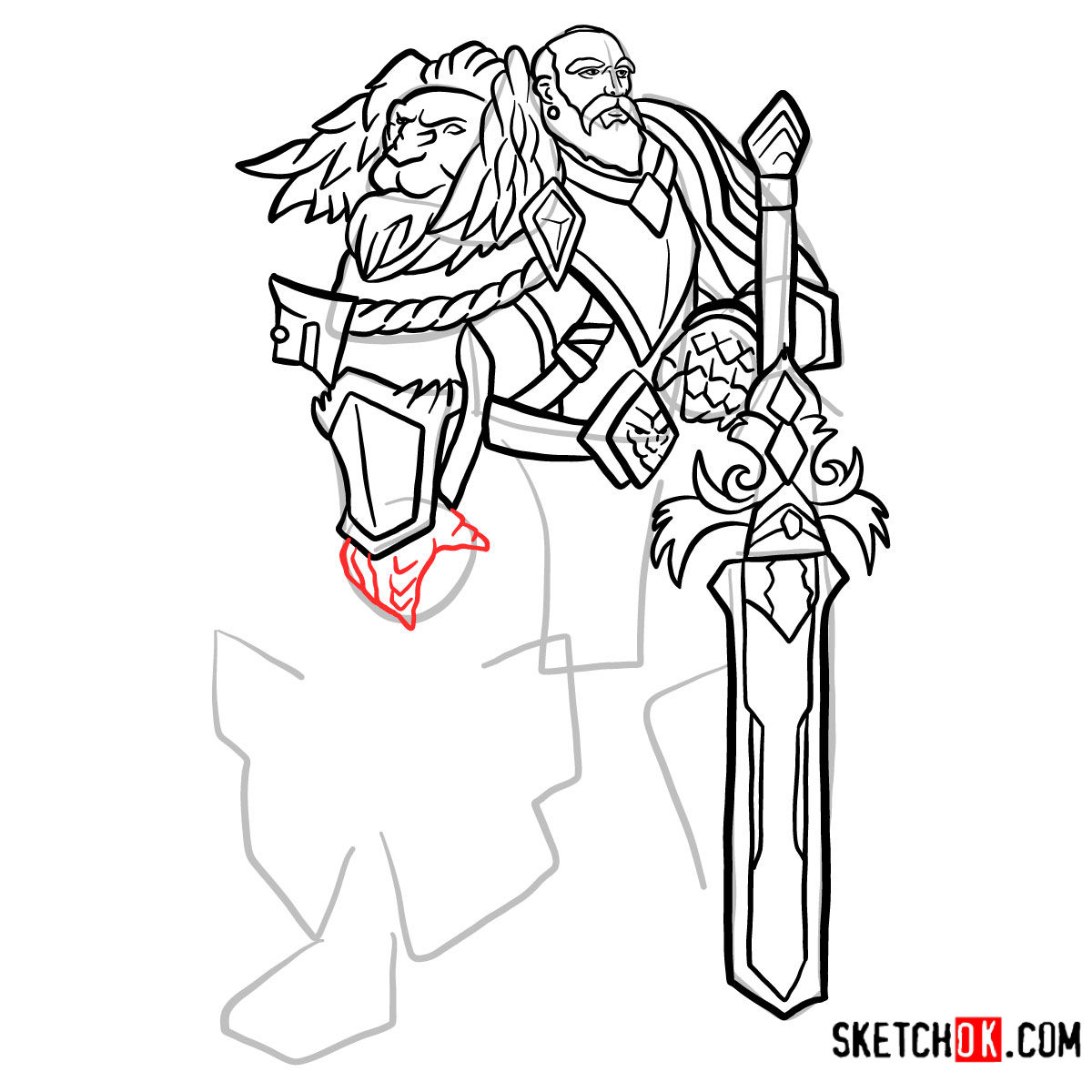 How to draw Lord Anduin Lothar | World of Warcraft - step 13