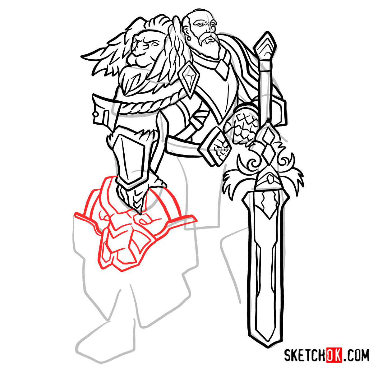 How to draw Lord Anduin Lothar | World of Warcraft - step 14