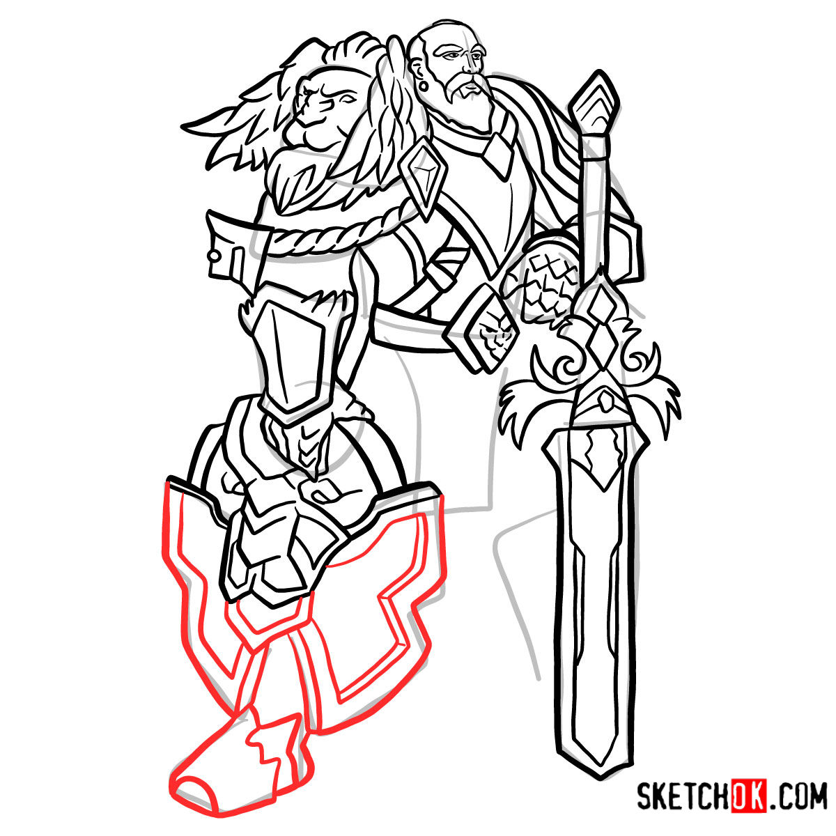 How to draw Lord Anduin Lothar | World of Warcraft - step 15