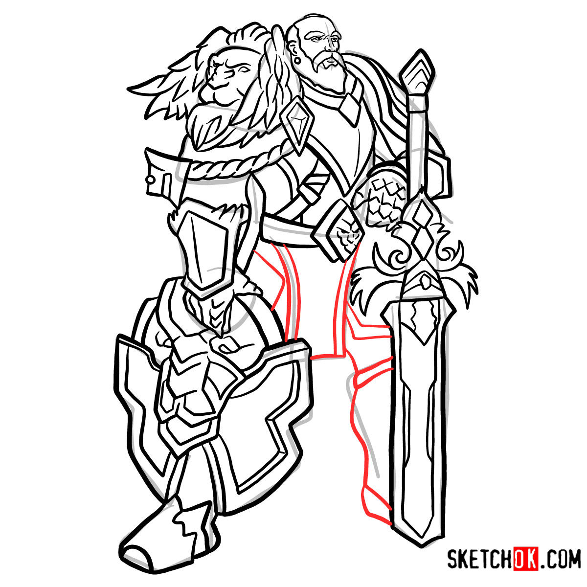 How to draw Lord Anduin Lothar | World of Warcraft - step 16