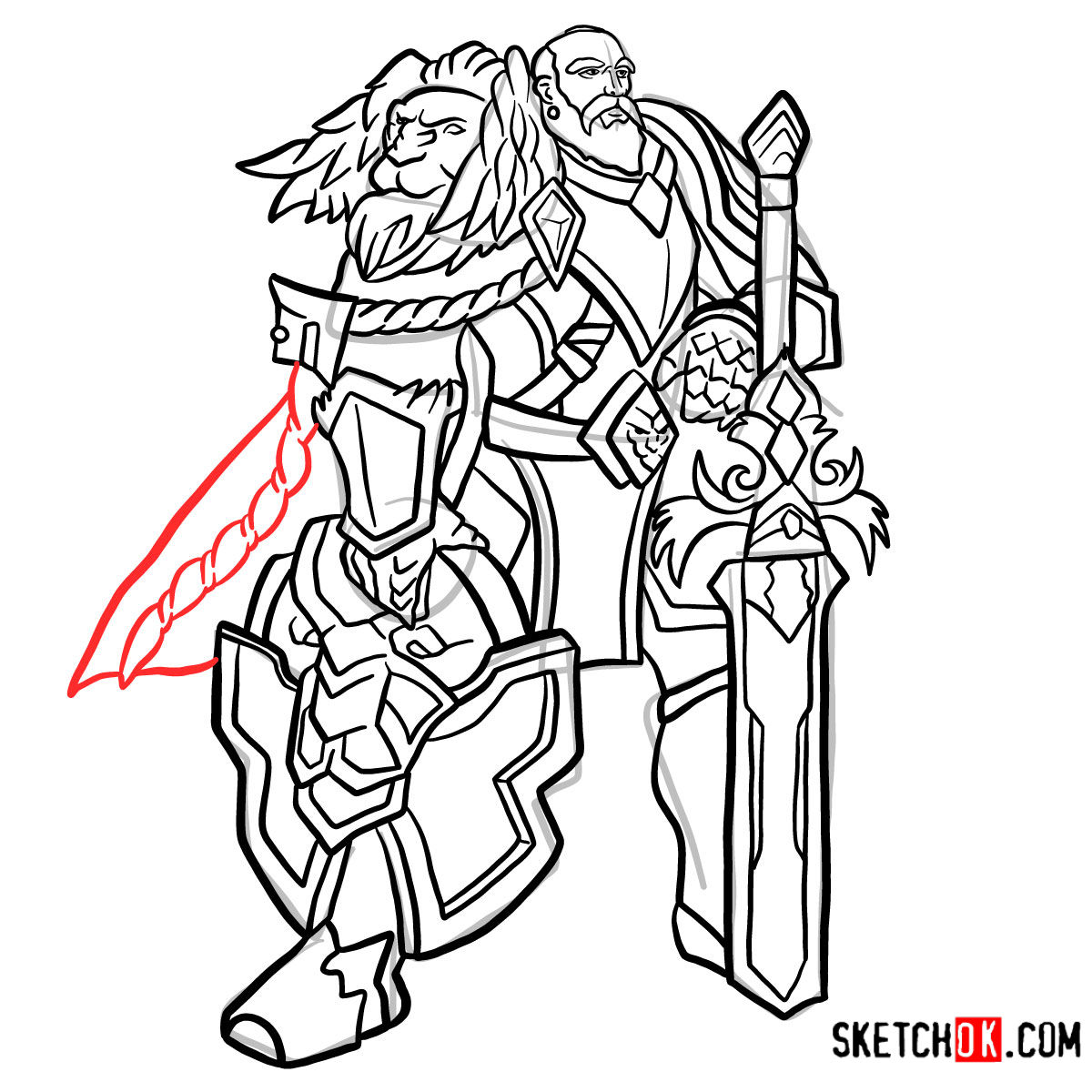 How to draw Lord Anduin Lothar | World of Warcraft - step 17