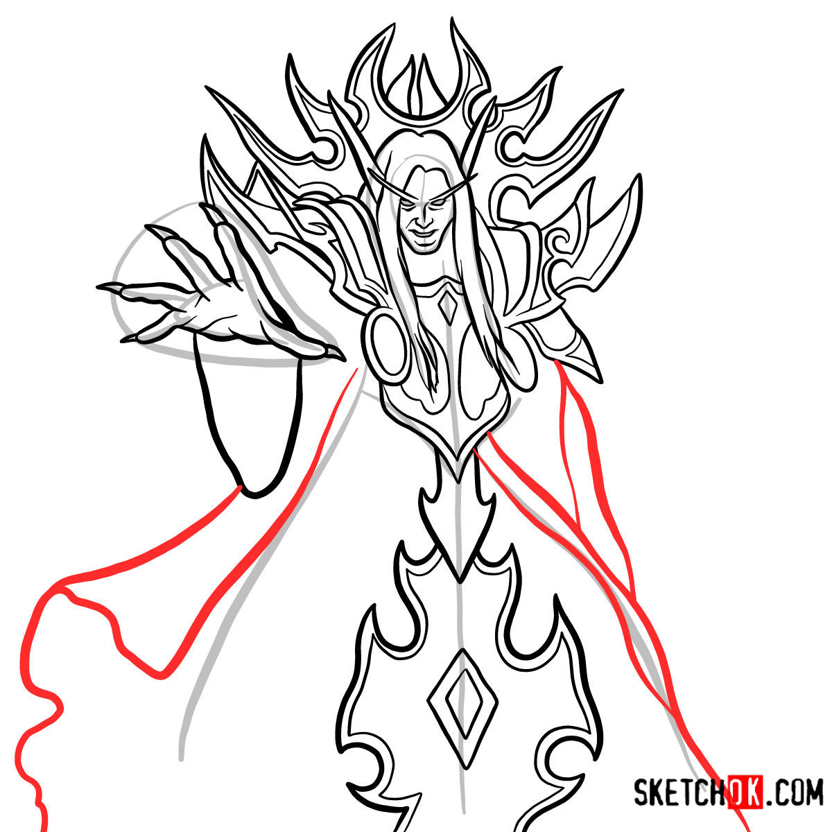 How to draw Kael'thas Sunstrider | World of Warcraft - step 13