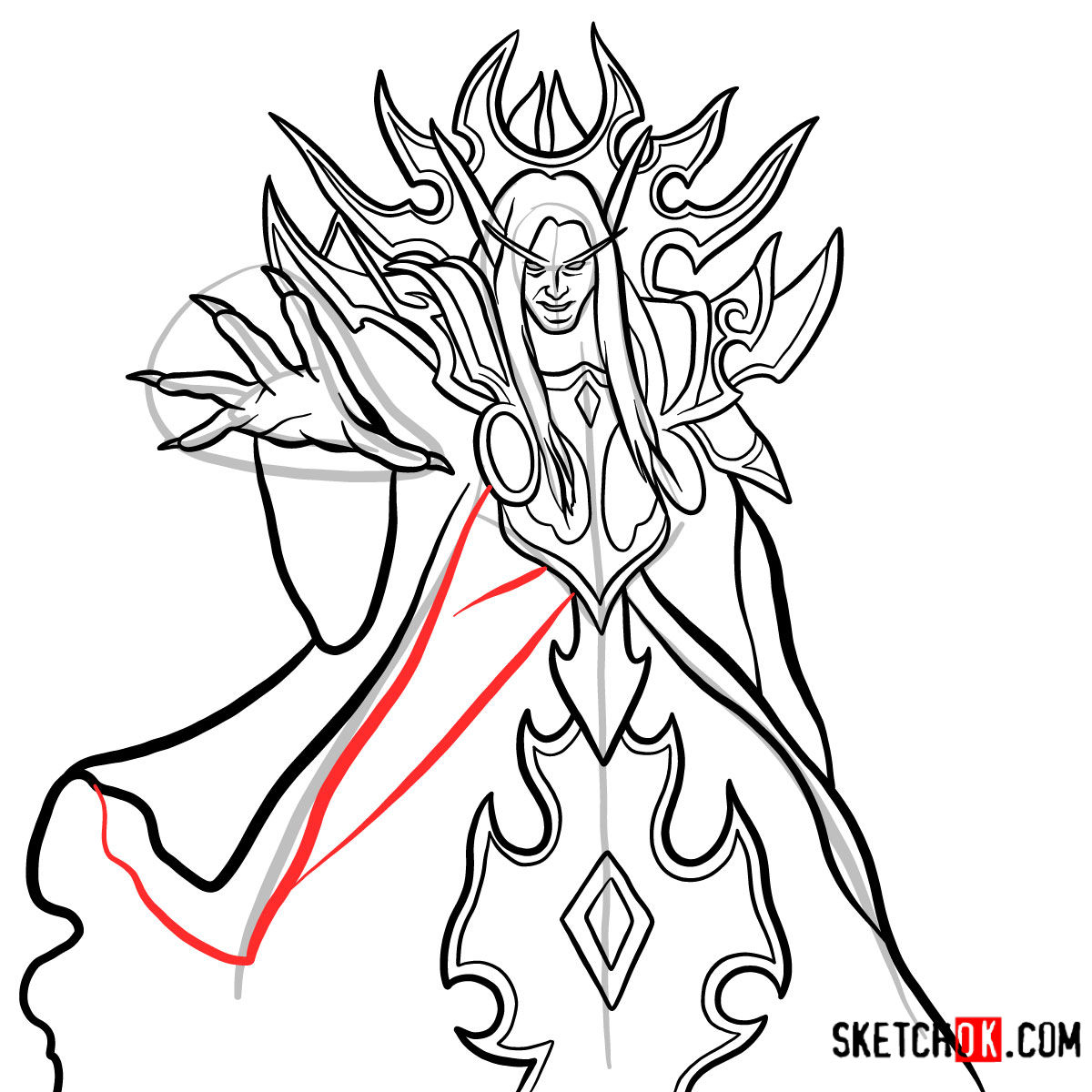 How to draw Kael'thas Sunstrider | World of Warcraft - step 14