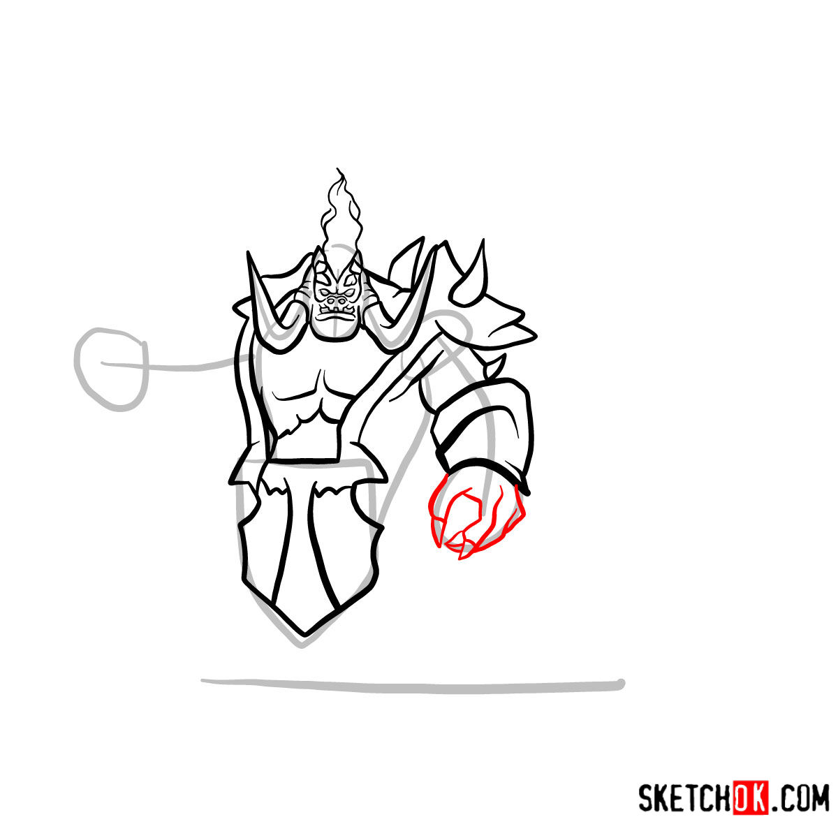 How to draw Mannoroth the Destructor   World of Warcraft - step 09