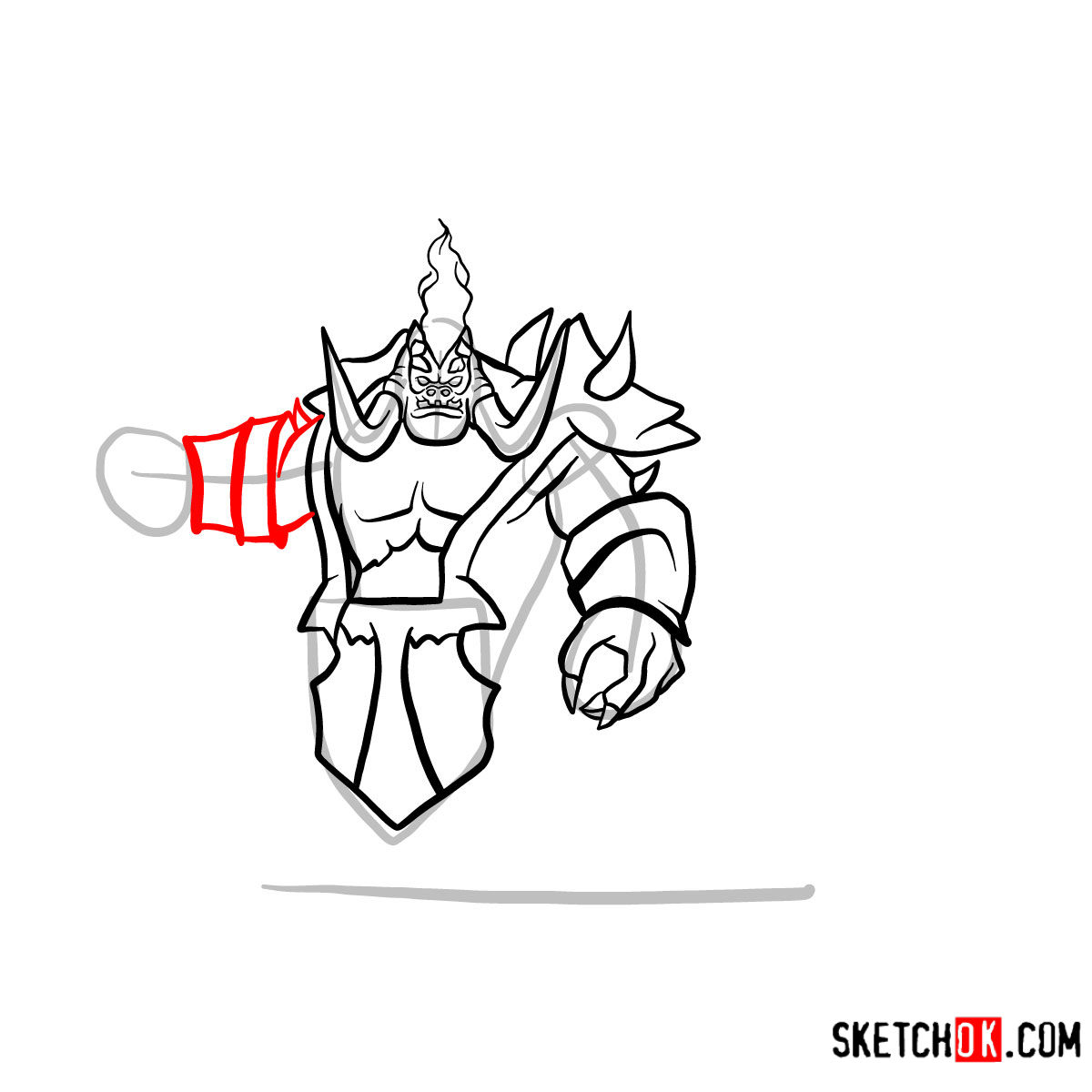How to draw Mannoroth the Destructor   World of Warcraft - step 10