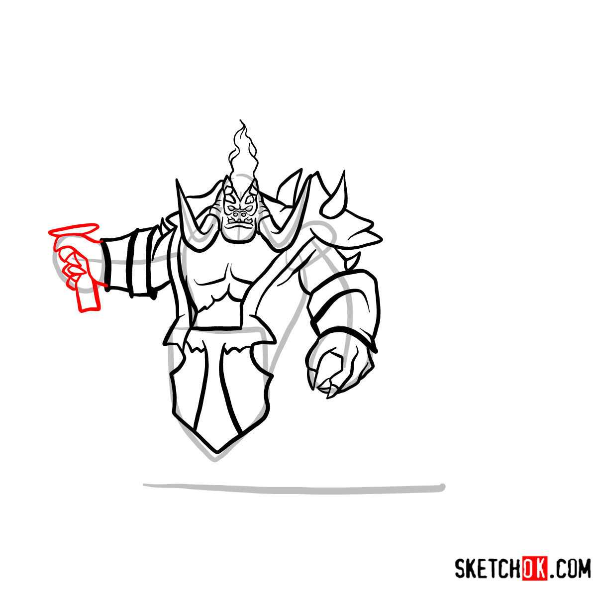 How to draw Mannoroth the Destructor   World of Warcraft - step 11